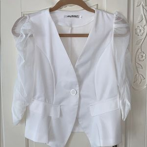 White Single Button Blazer illusion sleeve